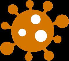An orange graphic of the COVID-19 virus
