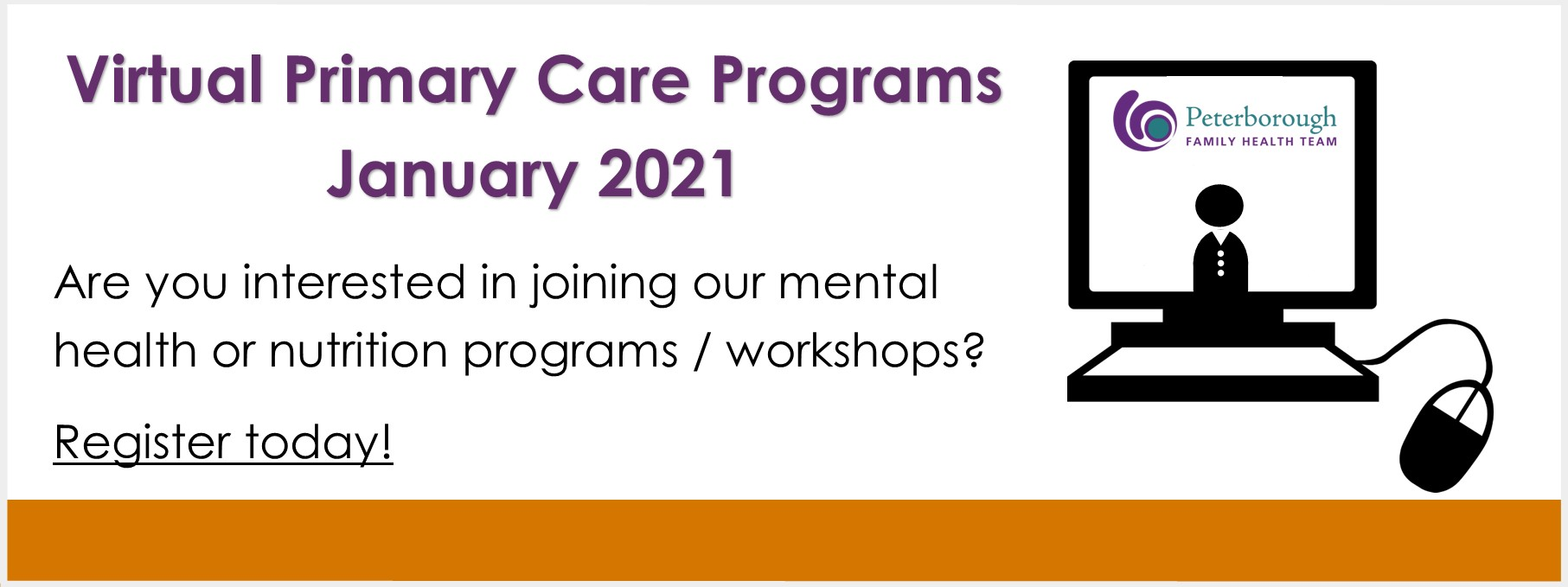 Virtual mental health and nutrition programs/workshops starting in January 2021. Register today.