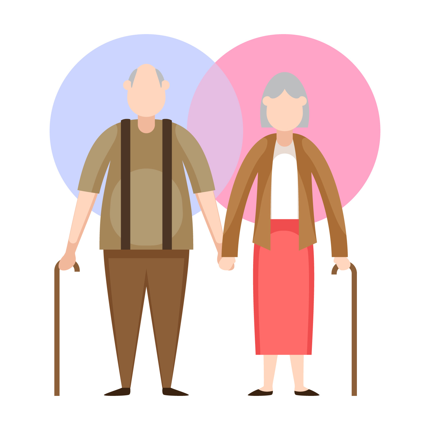 Graphic of elderly man and woman holding hands
